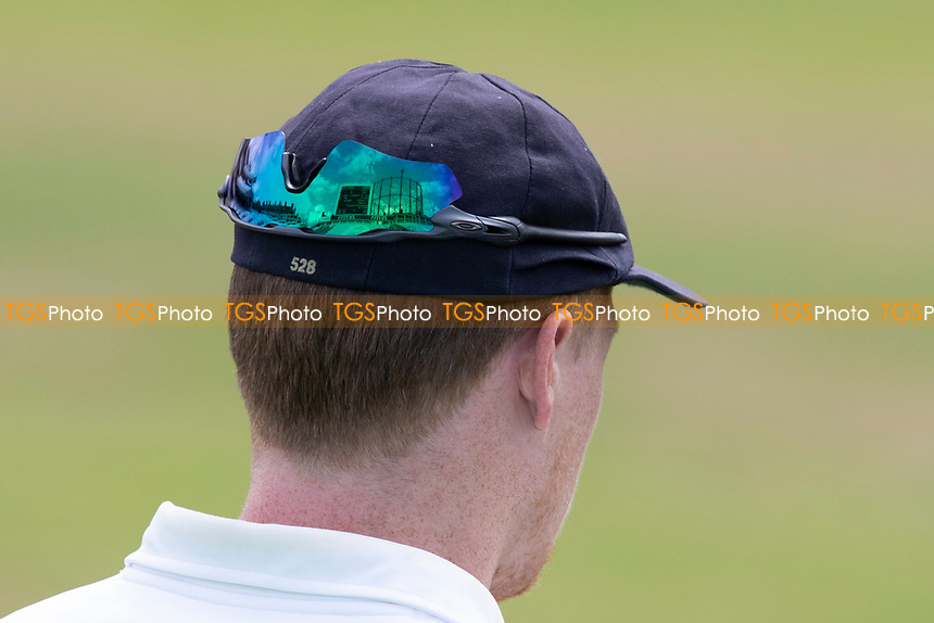 The iconic gas tower at the Oval reflected in Tom Alsop's glasses during Surrey CCC vs Hampshire CCC, LV Insurance County Championship Group 2 Cricket at the Kia Oval on 30th April 2021