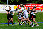 BERLIN, GERMANY - JUNE 21: Match of Team Global Players (white) vs Jizni Mesto (black) during the Berlin Open Lacrosse Tournament 2013 at Stadion Lichterfelde on June 21, 2013 in Berlin, Germany. (Photo by Dirk Markgraf/www.265-images.com)