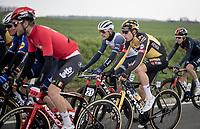 Buddies Wout van Aert (BEL/Jumbo-Visma) & Jasper Stuyven (BEL/Trek-Segafredo) catching up mid-race <br /> <br /> 61st Brabantse Pijl 2021 (1.Pro)<br /> 1 day race from Leuven to Overijse (BEL/202km)<br /> <br /> ©kramon