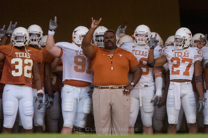 01 APRIL 2006: University of Texas strength and conditioning coach Jeff Madden, center, waits with his team to enter the field at Darrell K. Royal Memorial Stadium before the Longhorns annual spring Orange vs White Scrimmage.