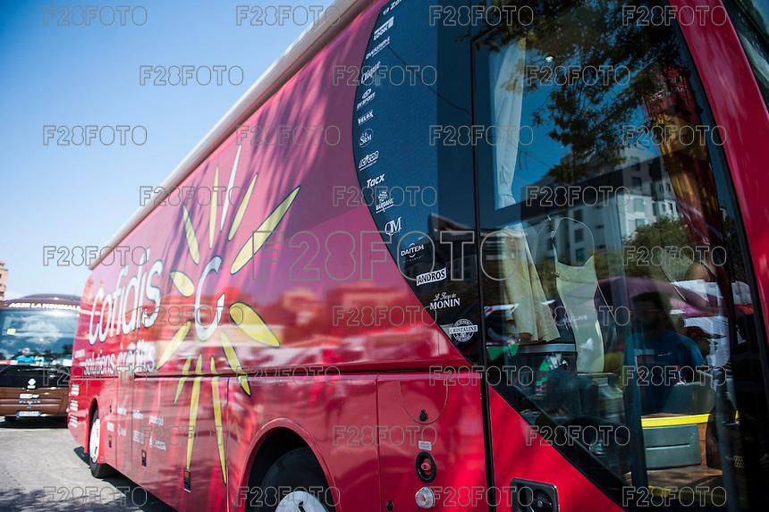 Castellon, SPAIN - SEPTEMBER 7: Cofidis bus during LA Vuelta 2016 on September 7, 2016 in Castellon, Spain