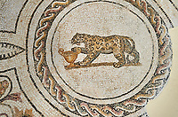 Picture of a Dionysiac Roman mosaics design depicting a panther in front of a wine crater, from the ancient Roman city of Thysdrus. 3rd century AD. El Djem Archaeological Museum, El Djem, Tunisia.