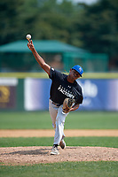 Pitcher Jalen Patterson (17) during the Dominican Prospect League Elite Underclass International Series, powered by Baseball Factory, on August 2, 2017 at Silver Cross Field in Joliet, Illinois.  (Mike Janes/Four Seam Images)
