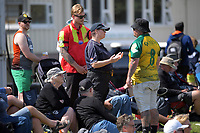 Red Badge security talk to a spectator during day four of the second International Test Cricket match between the New Zealand Black Caps and Pakistan at Hagley Oval in Christchurch, New Zealand on Wednesday, 6 January 2021. Photo: Dave Lintott / lintottphoto.co.nz
