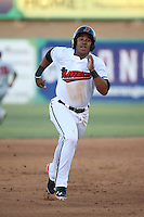 Josh Morgan (3) of the High Desert Mavericks runs the bases during a game against the Lancaster JetHawks at Heritage Field on April 23, 2016 in Adelanto, California. High Desert defeated Lancaster, 10-9. (Larry Goren/Four Seam Images)