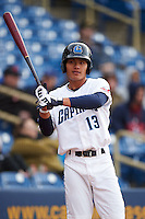 Lake County Captains shortstop Yu-Cheng Chang (13) on deck during a game against the Fort Wayne TinCaps on May 20, 2015 at Classic Park in Eastlake, Ohio.  Lake County defeated Fort Wayne 4-3.  (Mike Janes/Four Seam Images)