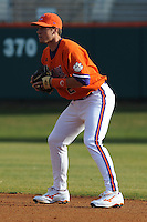 Clemson Tigers Second Baseman Jason Stolz during the opener of the 2011 season against the Eastern Michigan Eagles at Doug Kingsmore Stadium, Clemson, SC. Clemson won 14-3. Photo By Tony Farlow/Four Seam Images.