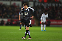 Jamie Vardy of Leicester City shows a look of frustration during the Barclays Premier League match between Swansea City and Leicester City played at The Liberty Stadium on 5th December 2015