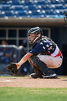 Quad Cities River Bandits catcher Michael Papierski (9) awaits the pitch during a game against the West Michigan Whitecaps on July 23, 2018 at Modern Woodmen Park in Davenport, Iowa.  Quad Cities defeated West Michigan 7-4.  (Mike Janes/Four Seam Images)