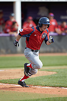 Jesse Uttendorfer (2) of the NJIT Highlanders hustles down the first base line against the High Point Panthers at Williard Stadium on February 18, 2017 in High Point, North Carolina. The Panthers defeated the Highlanders 11-0 in game one of a double-header. (Brian Westerholt/Four Seam Images)