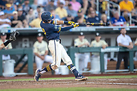 Michigan Wolverines third baseman Blake Nelson (10) swings the bat against the Vanderbilt Commodores during Game 3 of the NCAA College World Series Finals on June 26, 2019 at TD Ameritrade Park in Omaha, Nebraska. Vanderbilt defeated Michigan 8-2 to win the National Championship. (Andrew Woolley/Four Seam Images)