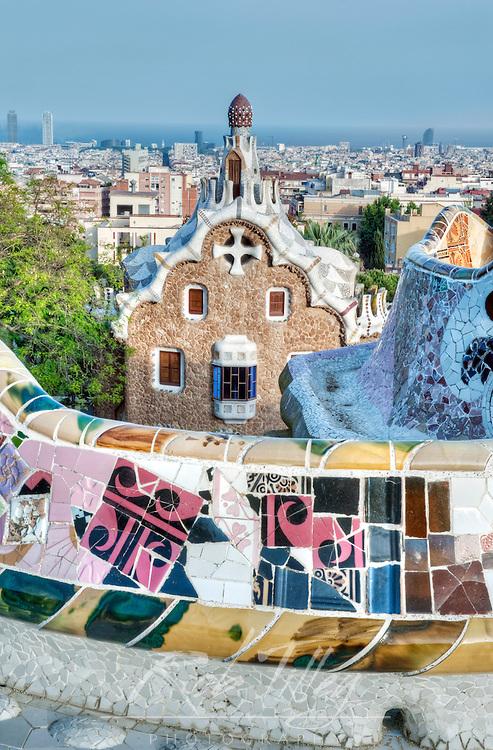 Europe, Spain, Catalonia, Barcelona, Park Guell Terrace