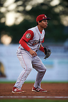 Williamsport Crosscutters third baseman Jan Hernandez (12) during a game against the Batavia Muckdogs on August 27, 2015 at Dwyer Stadium in Batavia, New York.  Batavia defeated Williamsport 3-2.  (Mike Janes/Four Seam Images)