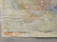 BNPS.co.uk (01202) 558833<br /> Pic: Cheffins/BNPS<br /> <br /> Pictured: It is signed 'R.Barrett/Oct 1961' with the initials to his real name Roger.<br /> <br /> An accomplished watercolour painting by a 15-year-old Syd Barrett has sold for £28,000 following a bidding war - over five times its estimate.<br /> <br /> The singer-songwriter produced 'Orane Dahlias in a Vase' in 1961 while a pupil at senior school, three years before founding Pink Floyd.<br /> <br /> It is signed 'R.Barrett/Oct 1961' with the initials to his real name Roger.