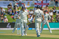 England's Rory Burns acknowledges applause for his half century during day one of the international cricket 1st test match between NZ Black Caps and England at Bay Oval in Mount Maunganui, New Zealand on Thursday, 21 November 2019. Photo: Dave Lintott / lintottphoto.co.nz