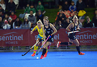 NZ's Stacey Michelsen in action during the Sentinel Homes Trans Tasman Series hockey match between the New Zealand Black Sticks Women and the Australian Hockeyroos at Massey University Hockey Turf in Palmerston North, New Zealand on Tuesday, 1 June 2021. Photo: Dave Lintott / lintottphoto.co.nz