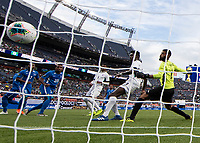DENVER, CO - JUNE 19: Sandy Sanchez #1 and Erick Rizo #3 watch the ball in the net for a Martinique goal during a game between Martinique and Cuba at Broncos Stadium on June 19, 2019 in Denver, Colorado.