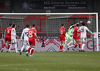 10th January 2021; Broadfield Stadium, Crawley, Sussex, England; English FA Cup Football, Crawley Town versus Leeds United; Kiko Casilla goal keeper for Leeds united saves sharply early in the first half