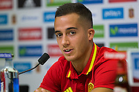Spanish Lucas Vazquez during the press conference of the concentration of Spanish football team at Ciudad del Futbol de Las Rozas before the qualifying for the Russia world cup in 2017 August 30, 2016. (ALTERPHOTOS/Rodrigo Jimenez) /NORTEPHOTO