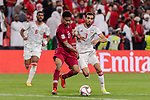 Akram Hassan Afif of Qatar (L) fights for the ball with Walid Abbas Murad of United Arab Emirates (R) during the AFC Asian Cup UAE 2019 Semi Finals match between Qatar (QAT) and United Arab Emirates (UAE) at Mohammed Bin Zaied Stadium  on 29 January 2019 in Abu Dhabi, United Arab Emirates. Photo by Marcio Rodrigo Machado / Power Sport Images