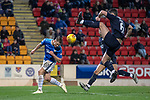 St Johnstone v Dundee….03.04.19   McDiarmid Park   SPFL<br />Callum Hendry and a high boot from Darren O'Dea<br />Picture by Graeme Hart. <br />Copyright Perthshire Picture Agency<br />Tel: 01738 623350  Mobile: 07990 594431