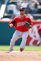 July 30, 2009:  Second Baseman Travis Denker of the Pawtucket Red Sox during a game at Coca-Cola Field in Buffalo, NY.  Pawtucket is the International League Triple-A affiliate of the Boston Red Sox.  Photo By Mike Janes/Four Seam Images