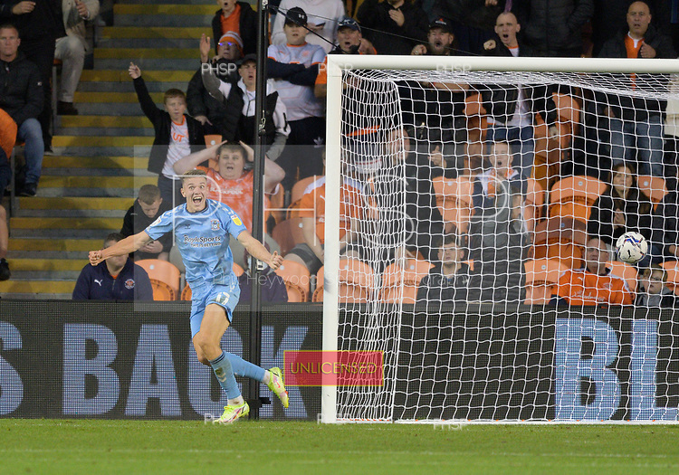 17/08/2021 Sky Bet Championship Blackpool v Coventry  <br /> <br /> Viktor Gyokeres celebrates after scoring the decisive goal  for Coventry