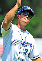15 July 2010: Vermont Lake Monsters' manager Jeff Garber coaches third base against the Aberdeen IronBirds at Centennial Field in Burlington, Vermont. The Lake Monsters rallied in the bottom of the 9th inning to defeat the IronBirds 7-6 notching their league leading 20th win of the 2010 NY Penn League season. Mandatory Credit: Ed Wolfstein Photo