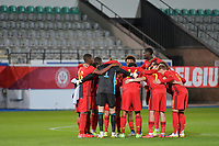 team Belgium pictured before a soccer game between the national teams Under21 Youth teams of Belgium and Denmark on the fourth matday in group I for the qualification for the Under 21 EURO 2023 , on tuesday 12 th of october 2021  in Leuven , Belgium . PHOTO SPORTPIX   STIJN AUDOOREN