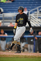 West Virginia Black Bears left fielder Austin Meadows (52) at bat during a game against the Batavia Muckdogs on August 7, 2017 at Dwyer Stadium in Batavia, New York.  West Virginia defeated Batavia 6-3.  (Mike Janes/Four Seam Images)