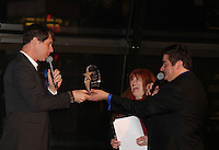 Jane Elissa and Dale Badway present the Shining Star Award to Broadway's  James Barbour, the star of The Phantom of the Opera as The Phantom at The 29th Annual Jane Elissa Extravaganza which benefits The Jane Elissa Charitable Fund for Leukemia & Lymphoma Cancer, Broadway Cares and other charities on November 14, 2016 at the New York Marriott Hotel, New York City presented by Bridgehampton National Bank and Walgreens.  The event is a Cabaret with singer Sean McDermott (Guiding Light) (Photo by Sue Coflin/Max Photos)