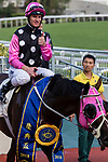 Jockey Zac Purton riding #1 Beauty Generation celebrates after winning the celebration cup (Handicap) during Hong Kong Racing at Sha Tin Racecourse on October 01, 2018 in Hong Kong, Hong Kong. Photo by Yu Chun Christopher Wong / Power Sport Images
