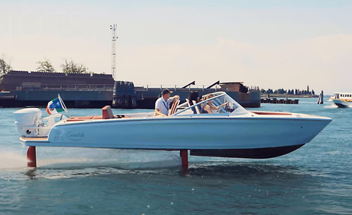 The electric hydrofoil Candela C-7 skims through Venice. See video below