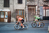 Matteo Trentin (ITA/CCC)  & Green Jersey Sam Bennett (IRE/Deceuninck-Quick Step) rolling through town<br /> <br /> Stage 17 from Grenoble to Méribel - Col de la Loze (170km)<br /> <br /> 107th Tour de France 2020 (2.UWT)<br /> (the 'postponed edition' held in september)<br /> <br /> ©kramon