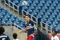 FOXBOROUGH, MA - AUGUST 7: Collin Verfurth #35 of New England Revolution II heads the ball during a game between Orlando City B and New England Revolution II at Gillette Stadium on August 7, 2020 in Foxborough, Massachusetts.