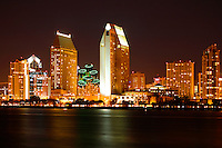 Downtown San Diego skyline at night from Coronado Island, California.