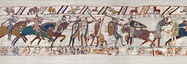 11th Century Medieval Bayeux Tapestry - Scene 56 -  Harold army is cut down. Battle of Hastings 1066.