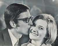 Triumphant, Robert Bourassa kissed his wife, Andree, on his election as Quebec premier in 1970<br /> <br /> 1970<br /> <br /> PHOTO :  Frank Lennon - Toronto Star Archives - AQP