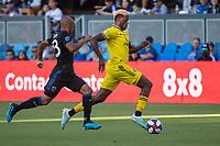 San Jose, CA - Saturday August 03, 2019: Gyasi Zardes #11 in a Major League Soccer (MLS) match between the San Jose Earthquakes and the Columbus Crew at Avaya Stadium.