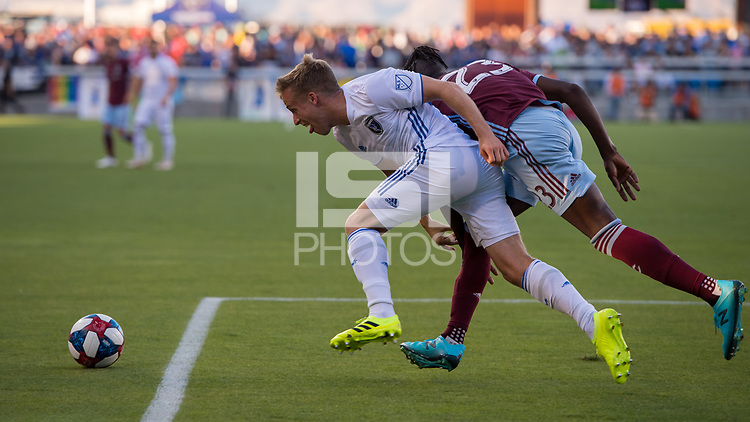 SAN JOSÉ CA - JULY 27: Tommy Thompson #22 during a Major League Soccer (MLS) match between the San Jose Earthquakes and the Colorado Rapids on July 27, 2019 at Avaya Stadium in San José, California.