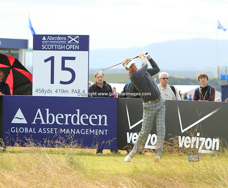 during the third round of the 2012 Aberdeen Asset Management Scottish Open being played over the links at Castle Stuart, Inverness, Scotland from 12th to 15th July 2012:  Stuart Adams www.golftourimages.com:14th July 2012