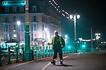 © Joel Goodman - 07973 332324. 26/09/2017. Brighton, UK. A street cleaners working along Brighton Promenade . Revellers at the end of a night out in Brighton during Freshers week , when university students traditionally enjoy the bars and clubs during their first nights out in a new city . Photo credit : Joel Goodman