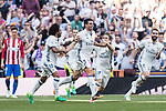 Kepler Laveran Lima Ferreira Pepe of Real Madrid celebrates scoring with teammates during their La Liga match between Real Madrid and Atletico de Madrid at the Santiago Bernabeu Stadium on 08 April 2017 in Madrid, Spain. Photo by Diego Gonzalez Souto / Power Sport Images