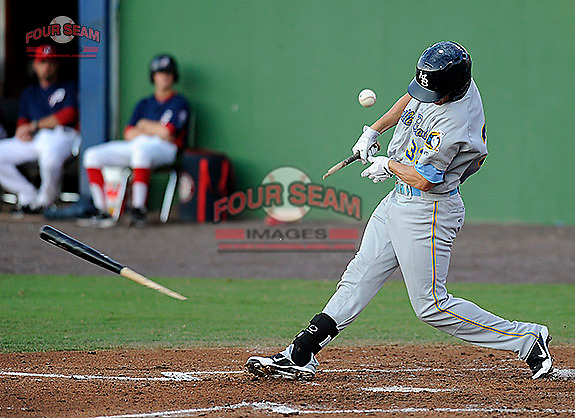 Photo of the Myrtle Beach Pelicans in a game against the Potomac Nationals on Monday, June 24, 2013, at G, Richard Pfitzner Stadium in Woodbridge, Virginia. Myrtle Beach won, 3-2. (Tom Priddy/Four Seam Images)
