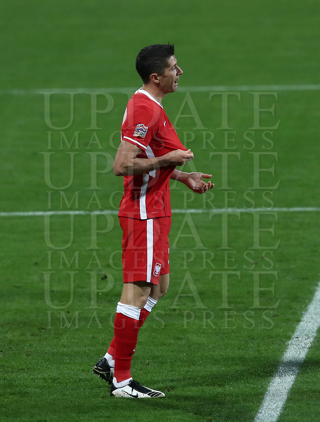 Football: Uefa Nations League Group A match Italy vs Poland at Mapei stadium, Città del Tricolore in Reggio Emilia, on Novemner 15, 2020.<br /> Poland's captain Robert Lewandowski reacts during the Uefa Nations League match between Italy and Poland at Mapei  stadium  città del Tricolore in Reggio Emillia, on November 15, 2020. <br /> UPDATE IMAGES PRESS/Isabella Bonotto