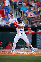 Buffalo Bisons shortstop Gregorio Petit (13) bats during a game against the Syracuse Chiefs on July 3, 2017 at Coca-Cola Field in Buffalo, New York.  Buffalo defeated Syracuse 6-2.  (Mike Janes/Four Seam Images)