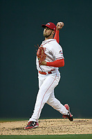Starting pitcher Alex Scherff (18) of the Greenville Drive delivers a pitch in a game against the Columbia Fireflies on Monday, April 16, 2018, at Fluor Field at the West End in Greenville, South Carolina. (Tom Priddy/Four Seam Images)