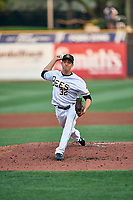 Jake Petricka (32) of the Salt Lake Bees delivers a pitch to the plate against the Sacramento River Cats at Smith's Ballpark on August 16, 2021 in Salt Lake City, Utah. The Bees defeated the River Cats 6-0. (Stephen Smith/Four Seam Images)