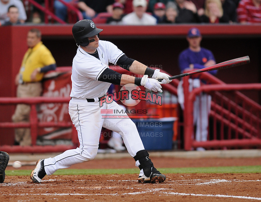First baseman Christian Walker (13) of the South Carolina Gamecocks in a game against the Clemson Tigers on March 3, 2012, at Carolina Stadium in Columbia, South Carolina. South Carolina won, 9-6. (Tom Priddy/Four Seam Images)