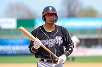 Lansing Lugnuts catcher Javier Hernandez (29) during a Midwest League game against the Wisconsin Timber Rattlers on May 8, 2018 at Fox Cities Stadium in Appleton, Wisconsin. Lansing defeated Wisconsin 11-4. (Brad Krause/Four Seam Images)